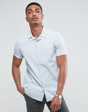 ASOS Бледно-голубая рубашка классического кроя с отложным воротником. Цвет: синий