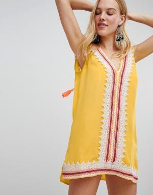 River Island Пляжное платье-туника с вышивкой ришелье. Цвет: желтый