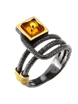Кольцо Балтийское золото. Цвет: черный, оранжевый, горчичный, золотистый, желтый