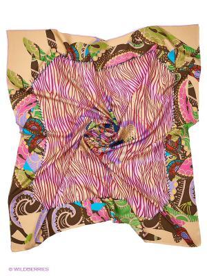 Платок Moltini. Цвет: бежевый, розовый, зеленый, коричневый