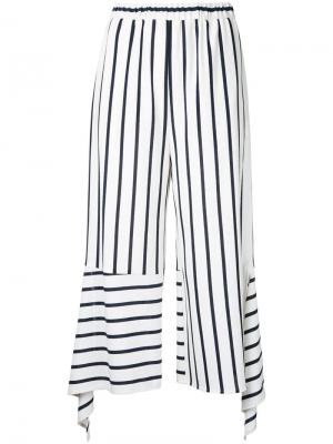 Укороченные брюки в полоску Goen.J. Цвет: белый