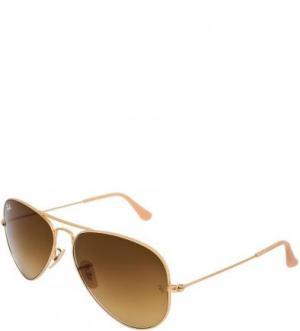 Очки-авиаторы с градиентными линзами Ray Ban. Цвет: золотистый
