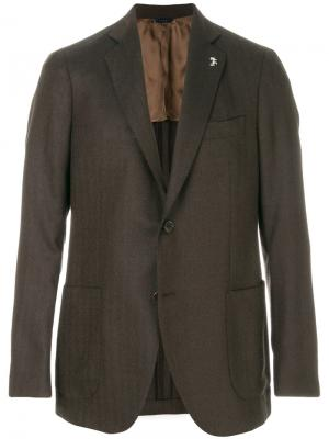 Классический однобортный пиджак Tombolini. Цвет: коричневый