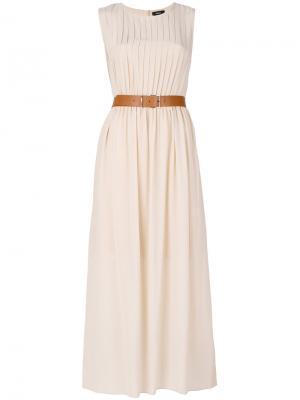 Длинное платье с поясом Theory. Цвет: телесный