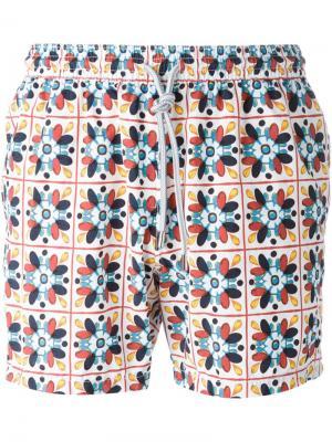 Плавательные шорты с орнаментом Capricode. Цвет: белый