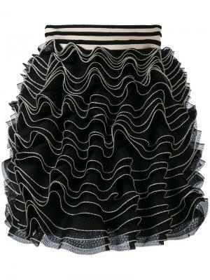 Трикотажная юбка мини с оборками Alexander McQueen. Цвет: чёрный