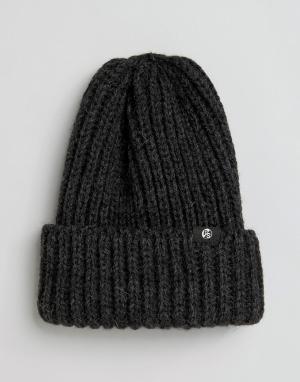 Paul Smith Серая шерстяная шапка-бини в рубчик PS By. Цвет: серый