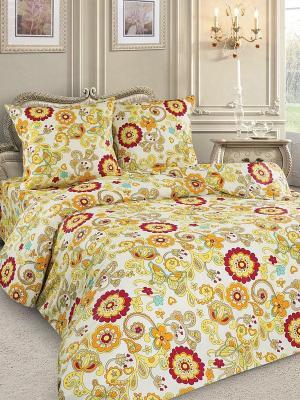 Комплект постельного белья Letto. Цвет: желтый, бордовый
