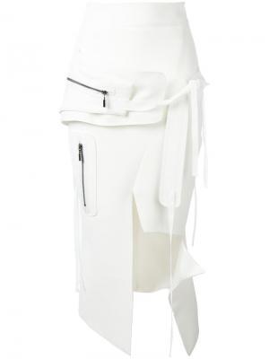 Асимметричная юбка с молнией Maticevski. Цвет: белый