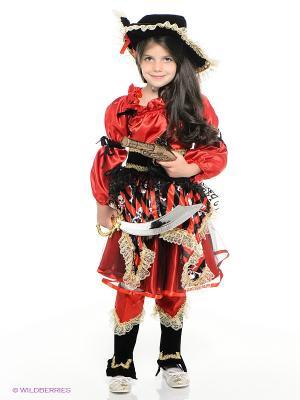 Карнавальный костюм ПИРАТКА красная Батик. Цвет: красный, черный