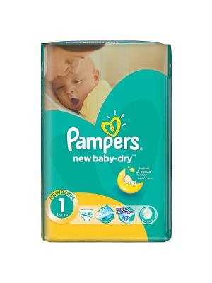 Подгузники New Baby-Dry 2-5 кг, 1 размер, 43 шт. Pampers. Цвет: зеленый
