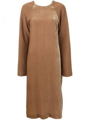Бархатное платье Dodo Nehera. Цвет: коричневый