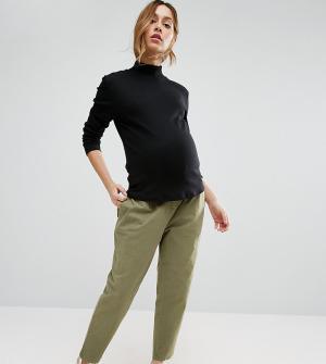 ASOS Maternity Выбеленные брюки галифе в стиле милитари для беременных. Цвет: зеленый