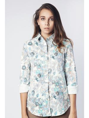 Блузка Milady атласная с цветами MONOROOM. Цвет: синий, белый