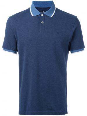 Рубашка-поло с контрастной отделкой Hackett. Цвет: синий