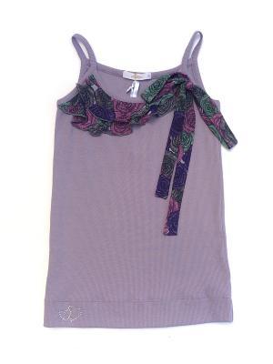Топик для девочки La Pastel. Цвет: фиолетовый, розовый, зеленый, коричневый