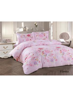 Комплект постельного белья семейный сатин Jardin. Цвет: розовый