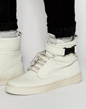 Dark Future Серые высокие кроссовки с пряжкой. Цвет: серый