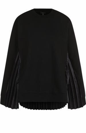 Хлопковый пуловер с плиссированными вставками Clu. Цвет: черный