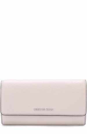 Кожаный кошелек с логотипом бренда MICHAEL Kors. Цвет: светло-серый