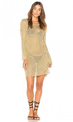 Платье-накидка stay golden MINKPINK. Цвет: металлический золотой
