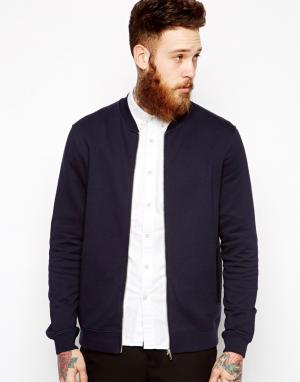ASOS Темно-синяя трикотажная куртка‑пилот. Цвет: синий