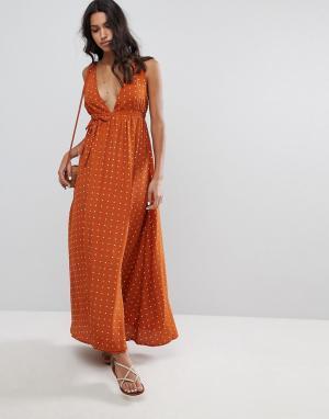 Faithful the Brand Платье макси с принтом Faithfull Premium. Цвет: оранжевый