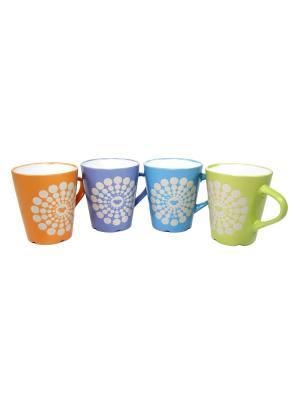Кружка  Мотылек Elff Ceramics. Цвет: оранжевый, зеленый, голубой, фиолетовый