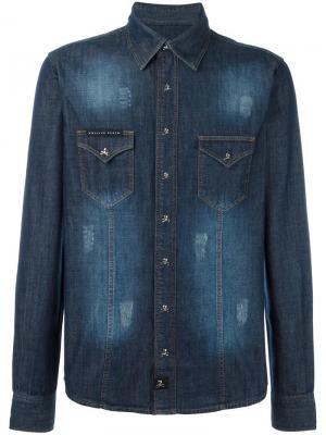 Джинсовая рубашка Hiva Philipp Plein. Цвет: синий