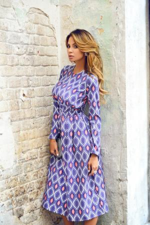 Полуприлегающее платье с длинными рукавами BEZKO. Цвет: сиреневый