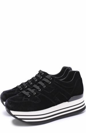 Бархатные кроссовки на контрастной платформе Hogan. Цвет: черный