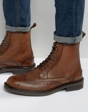 Dead Vintage Светло-коричневые кожаные ботинки-броги. Цвет: рыжий