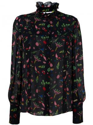 Блузка с цветочным принтом Steve J & Yoni P. Цвет: чёрный