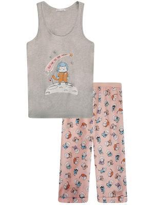 Пижамы Oodji. Цвет: серый