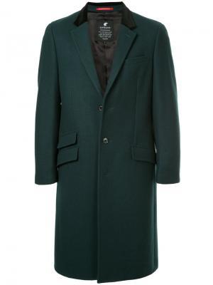 Пальто прямого кроя Loveless. Цвет: зелёный