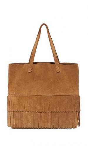 Объемная сумка с короткими ручками Transport замшевой бахромой Madewell