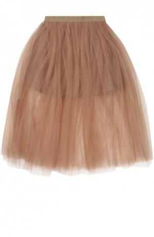Пышная многослойная юбка Monnalisa. Цвет: бежевый