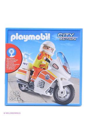 Береговая охрана Мотоцикл первой помощи с мигалкой Playmobil. Цвет: белый
