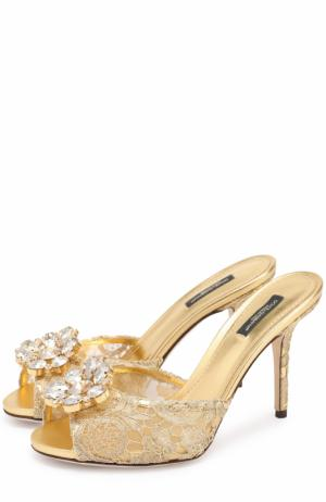 Кружевные мюли Keira на шпильке Dolce & Gabbana. Цвет: золотой