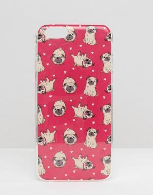 SIGNATURE Чехол для iPhone 6 с принтом мопса. Цвет: розовый