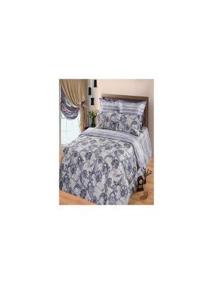 Комплект постельного белья из тк.Сатин в подарочной упаковке Александрит Арт Постель. Цвет: серый
