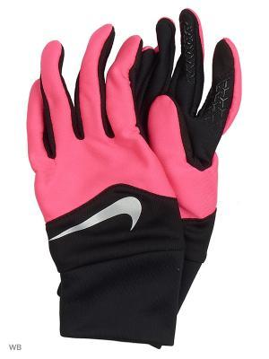Женские перчатки для бега Nike. Цвет: черный, серебристый, розовый