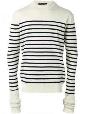 Полосатый свитер с удлиненными рукавами Y / Project. Цвет: белый