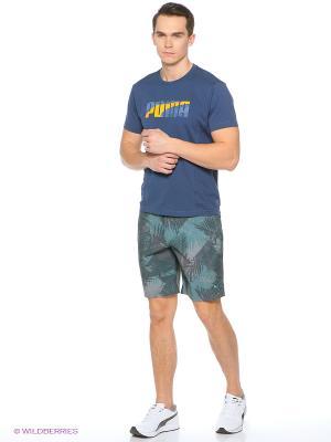 Шорты пляжные Graphic 2 Beach Short Puma. Цвет: бирюзовый, синий