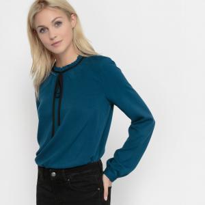 Блузка с небольшим плиссированным воротником TOM TAILOR. Цвет: сине-зеленый