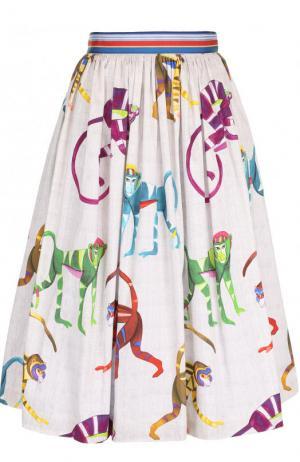 Хлопковая юбка-миди с принтом Stella Jean. Цвет: разноцветный