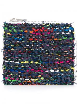 Трикотажный твидовый средний кошелек COOHEM. Цвет: синий