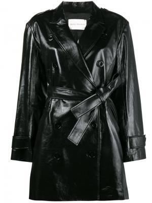 Двубортное пальто-тренч Olivier Theyskens. Цвет: чёрный