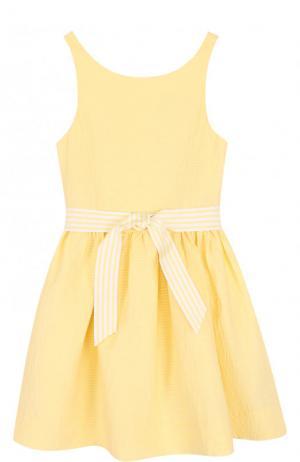 Хлопковое платье с широким поясом Polo Ralph Lauren. Цвет: желтый