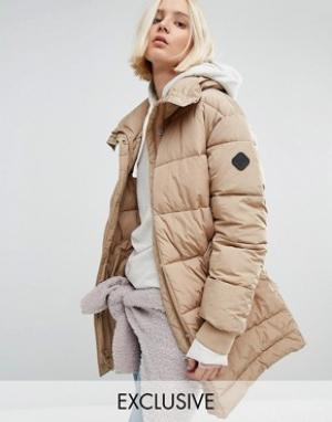 Puffa Удлиненная дутая оversize-куртка. Цвет: бежевый